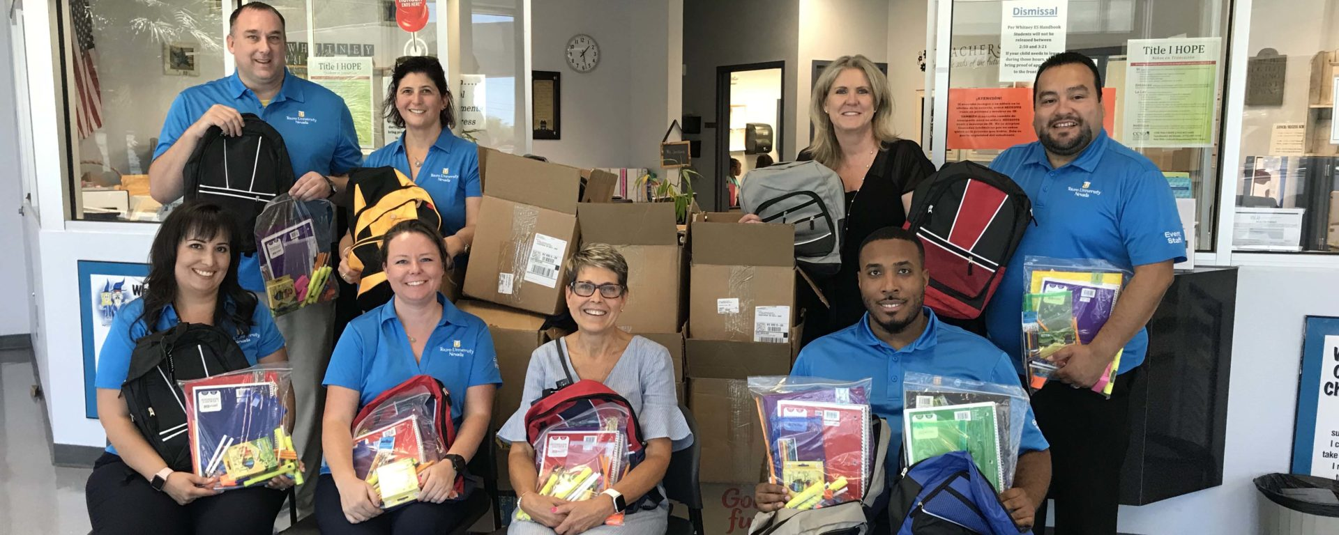 The Touro University Nevada community came together by donating more than $1,400 in school supplies for the underprivileged students at Whitney Elementary School.