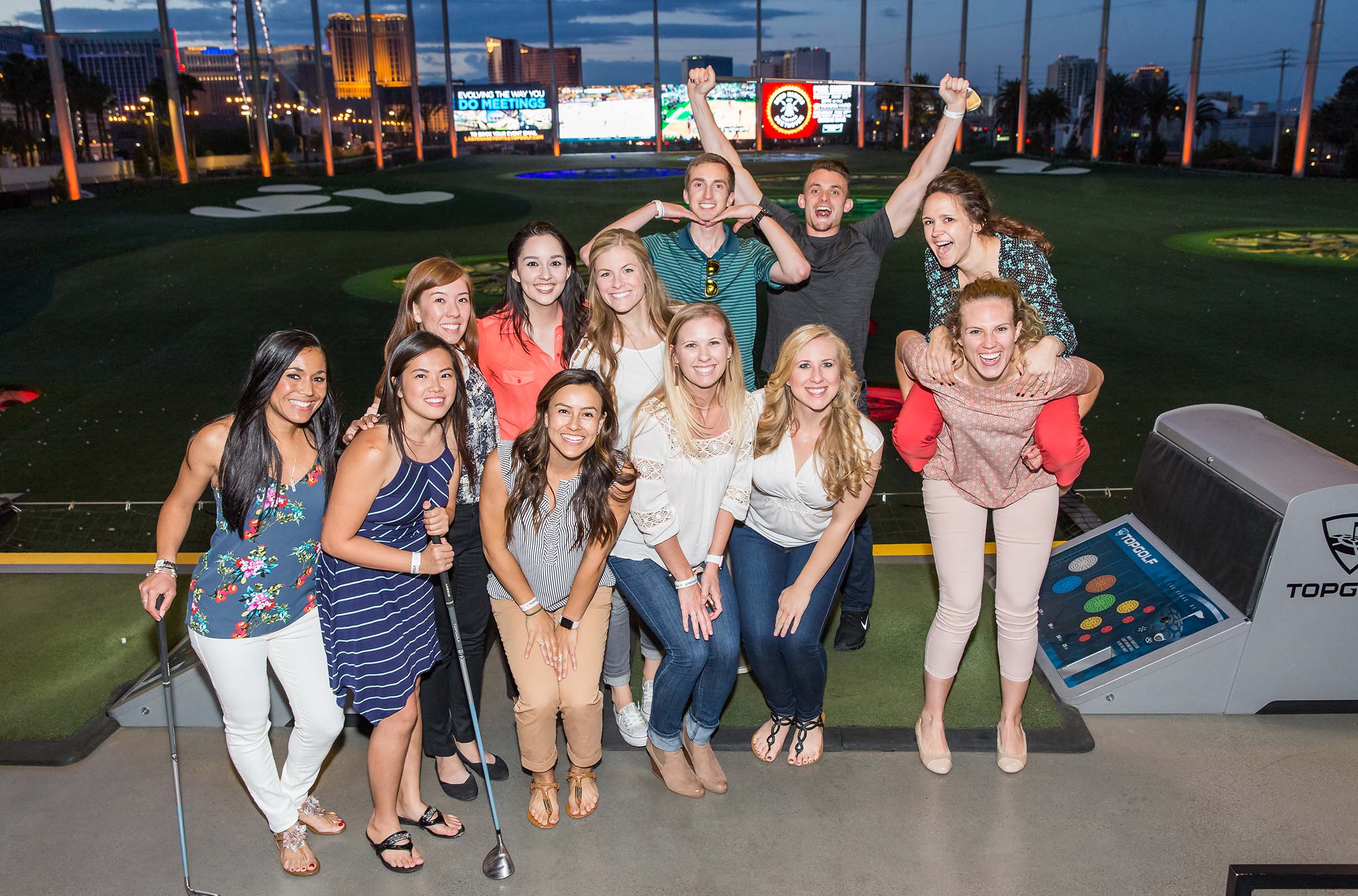 Touro Physician Assistant Studies faculty, students, and alumni at a reception at TopGolf.
